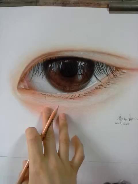 彩铅手绘眼睛流泪