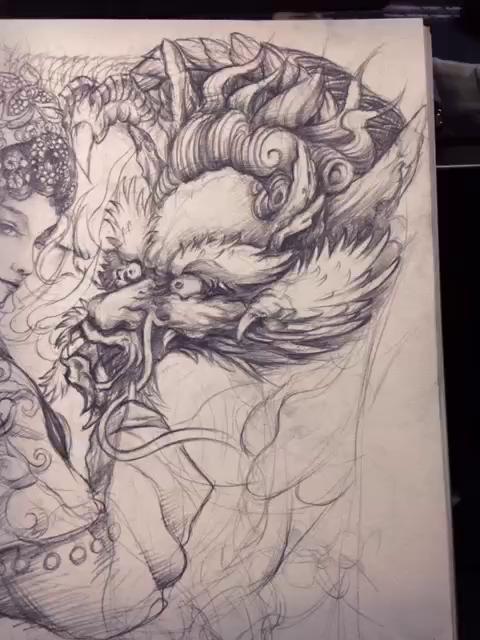 明月艺妓纹身图手稿分享展示