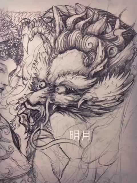 花旦与神兽纹身手稿手绘ing.明月出品