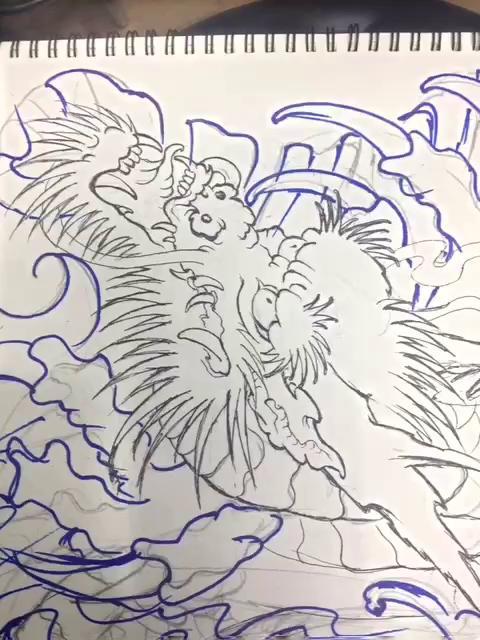 给我自己画新传统后背龙手稿  明天开始仔细研究了  合肥 热火纹身图片
