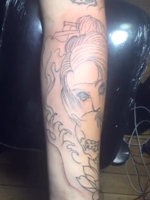 艺姬纹身手稿素材线条